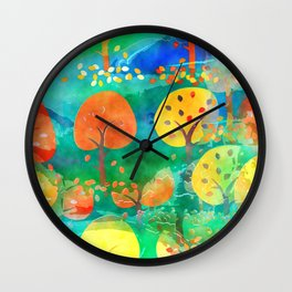 Fall Forest Painting Wall Clock