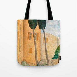 "Amedeo Modigliani ""Cypresses and Houses at Cagnes (Cyprès et maisons à Cagnes)"" Tote Bag"