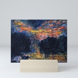 The Domain of Arnheim (colorful sunset on the water) portrait painting by Jeams Ensor Mini Art Print