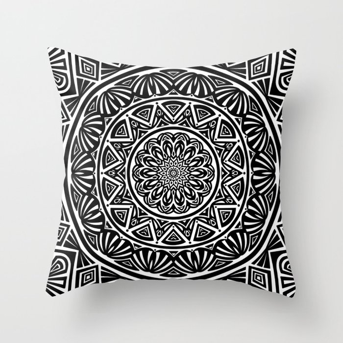 Black and White Simple Simplistic Mandala Design Ethnic Tribal Pattern Throw Pillow