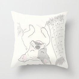 Topsy Turvy Snoozing Frenchie French Bulldog Black & White Throw Pillow