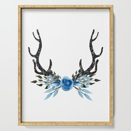 Floral Deer Antler Serving Tray