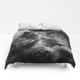 Antique Map Space Stars Black and White Comforters