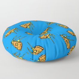 Pepperoni Pizza Dripping Cheese by the Slice Pattern (blue) Floor Pillow