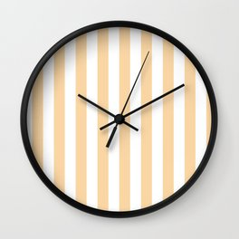 Narrow Vertical Stripes - White and Sunset Orange Wall Clock