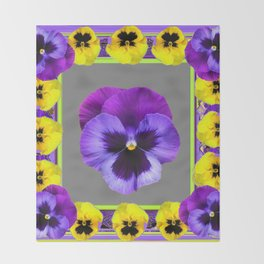 DECO PURPLE & YELLOW  PANSIES ON  GREY COLOR Throw Blanket