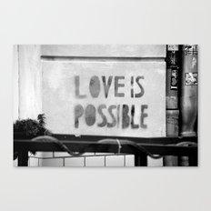 Love is possible - Berlin stencil Canvas Print