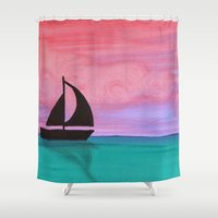sail Shower Curtains featuring Sail Away by Aries Art