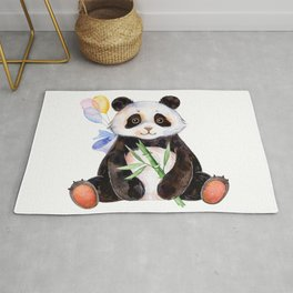 White Panda Watercolors Illustration Rug