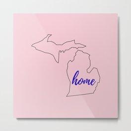 Michigan Outline - Pink Navy Metal Print