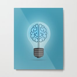 Bulb Brain Blue Metal Print