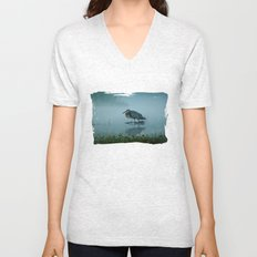 Blue Heron Misty Morning Unisex V-Neck