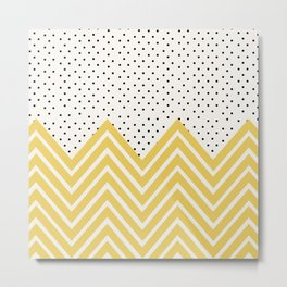 Chartreuse Chevron and dots  Metal Print