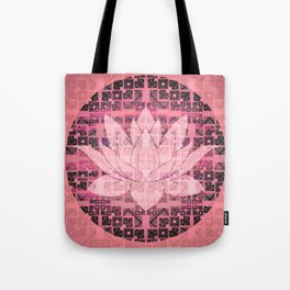 Pink Luminous Techno Lotus Tote Bag