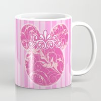 minnie mouse Mugs featuring Minnie Mouse Princess Pink Swirls by Whimsy and Nonsense