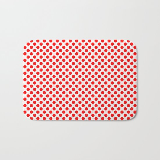 Polka Dot Red and White Pattern Bath Mat