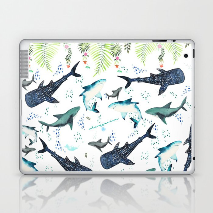 floral shark pattern Laptop & iPad Skin