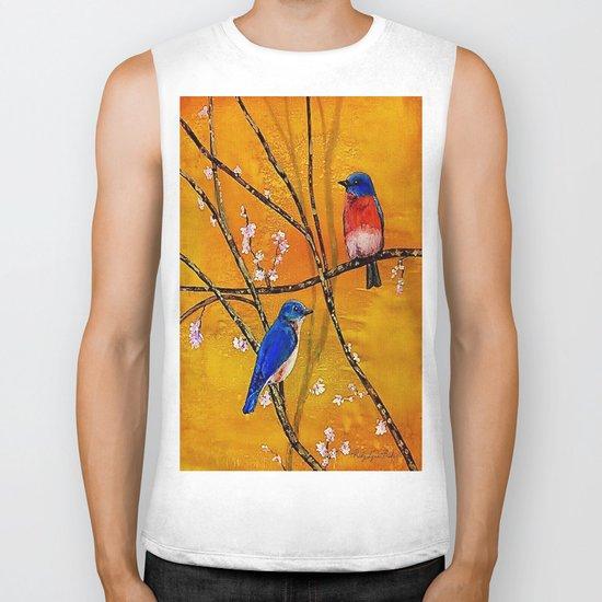 Blue Birds Biker Tank
