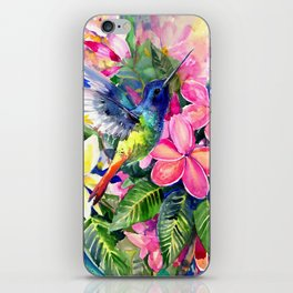 Hummingbird and Plumeria Florwers Tropical bright colored foliage floral Hawaiian Flowers iPhone Skin