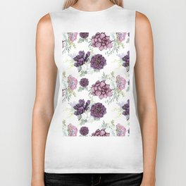 Succulents Deep Violet Lavender Pastel Green Lilac PatternSee Nature Magick for more pretty pastel c Biker Tank