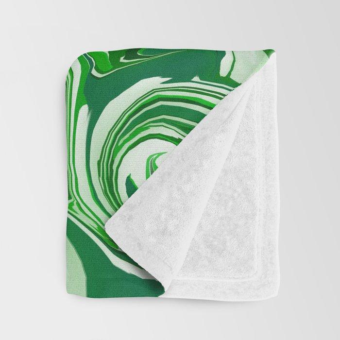 Emerald Green, Green Apple, and White Paint Swirls Throw Blanket