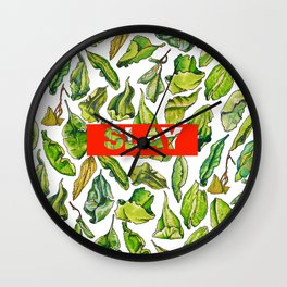 slay tea slay! // watercolor tea leaf pattern with millennial slang Wall Clock
