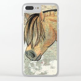 Fjord Horse on Vintage Map Clear iPhone Case