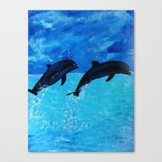 Jumping Dolphins Canvas Print