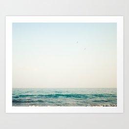 Jump, beach ocean art Art Print