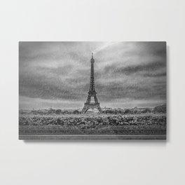 PARIS Eiffel Tower Thunderstorm Metal Print