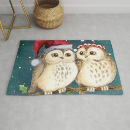 Cute Christmas Winter Owl Couple Painting Rug