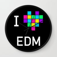 edm Wall Clocks featuring I heart EDM by ihearteverything