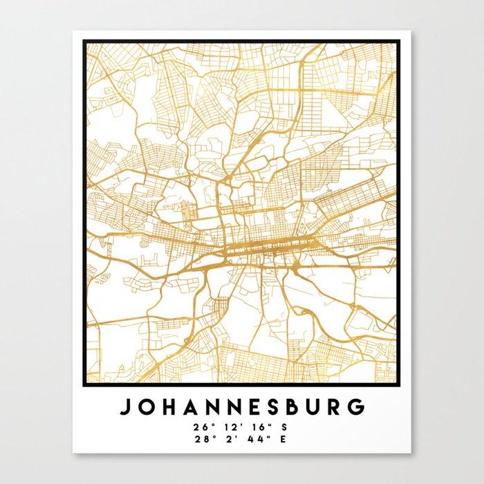 JOHANNESBURG SOUTH AFRICA CITY STREET MAP ART Canvas Print by deificusart