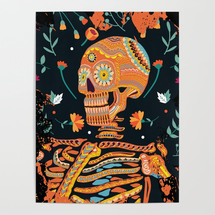 47cbbf81f343 Day of the Dead Skeleton – Dia de los muertos – sugar skull – cool design  Poster by popularglitch