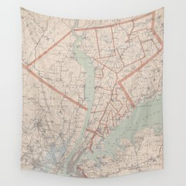 Vintage Map of Westchester County NY (1893) Wall Tapestry