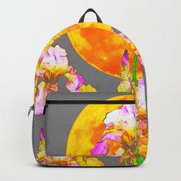 IRIS GARDEN & RISING GOLD MOON  IN GREY SKY Backpack