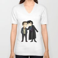 johnlock V-neck T-shirts featuring Johnlock by agartaart