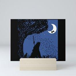 A Halloween night under the moon Mini Art Print