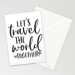 TRAVEL POSTER, Let's Travel The World Together,Song lyrics,Travel Far Travel Often,Travel Poster Stationery Cards