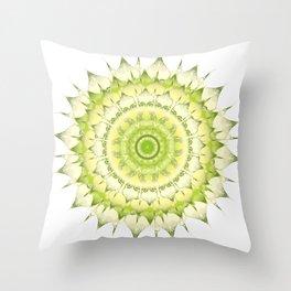 Delicate Mandala green on white Throw Pillow