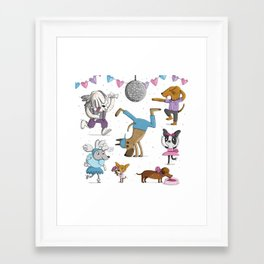 Valentine's Doggy Dance Party Framed Art Print
