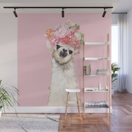 Llama with Flower Crown in Pink Wall Mural