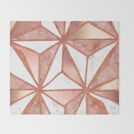 Rose Gold Marble Geometric Abstract Throw Blanket