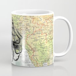 Octopus Attacks Ship on map background Coffee Mug