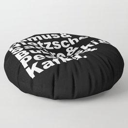 Camus& Nietzsche& Sartre& Bukowski& Pessoa& Kafka. White on Black Floor Pillow