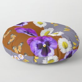 BROWN & PURPLE PANSY WHITE DAISY BUTTERFLIES SPRING Floor Pillow