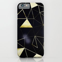 Gold Triangle Geometric Pattern on Black Suede iPhone Case