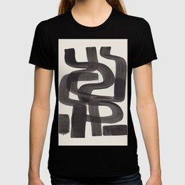 Black Ink Paint Brush Strokes Wiggles Mid Century Modern T-shirt