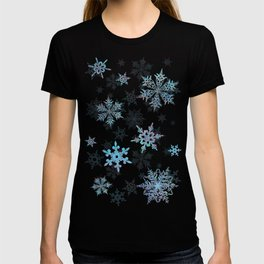"""Embroidered"" Snowflakes on white canvas T-shirt"
