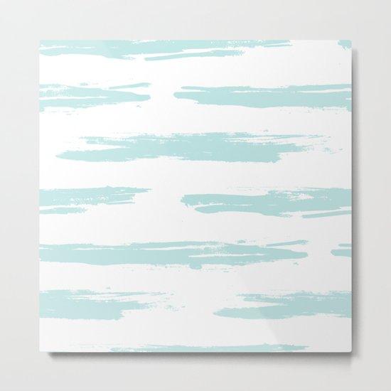Swipe Stripe Succulent Blue and White Metal Print